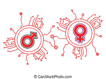 Gender Icon Circuit Illustration in Vector