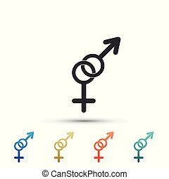 Gender icon isolated on white background. Symbols of men and women. symbol. Set elements in colored icons. Flat design. Vector Illustration