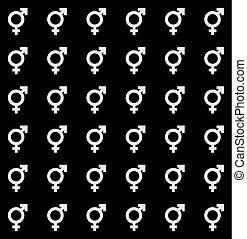 Gender icon seamless endless pattern. Transgender texture...