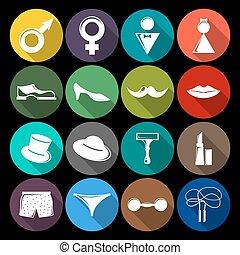 Gender icons set flat