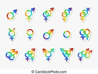 Gender identity icon set. Bisexual, female and male, gay and lesbian, transgender, homosexual, transsexual, hetero and other symbols. Sticker with watercolor effect. Vector illustration.