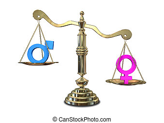 A gold justice scale with the two different gender symbols on either side with the male symbol outweighing the female one