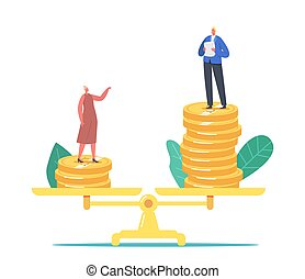 Gender Inequality, Sex Discrimination Concept. Businessman and Businesswoman Characters Stand on Scales with Money
