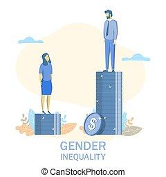 Gender inequality, vector flat style design illustration