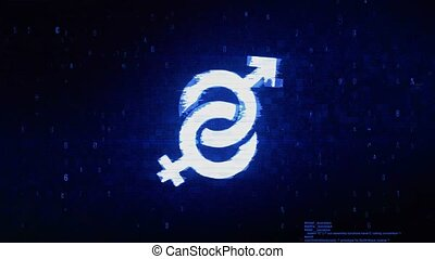 Gender Male and Female Symbol Digital Pixel Noise Error Animation.