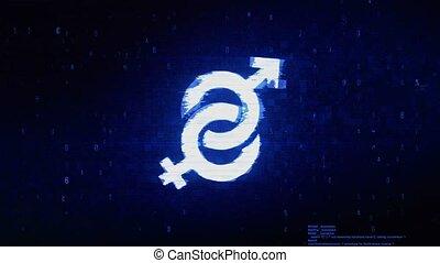 Gender Male and Female Symbol Digital Pixel Noise Error ...