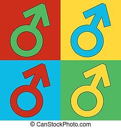 Gender male symbol button. - Gender male symbol button on...