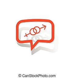 Gender message sticker, orange chat bubble with image...