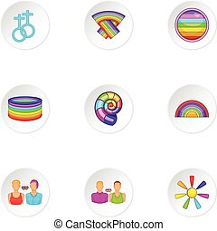 Gender minorities icons set, cartoon style