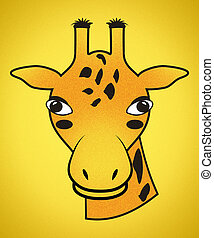 Gender Neutral Orange Spotted Giraffe Head with Clipping Path