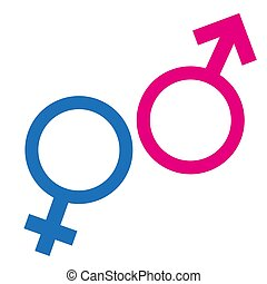 Gender or male and female icon flat sign symbols pink and blue vector glyph icon. Isolated on white background. Vector