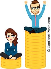 Gender Pay Gap - Gender pay gap concept woman and man...