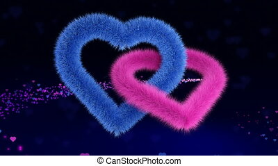 Gender plush hearts soaring on a magic background
