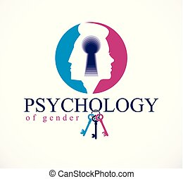Gender psychology concept created with man and woman heads profiles and keyhole with key of understanding, vector logo or illustration of relationship problems and conflicts in family and society.