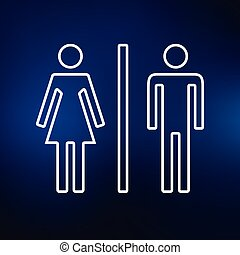 Gender sign icon on blue background