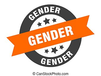 gender sign. round ribbon sticker. isolated tag