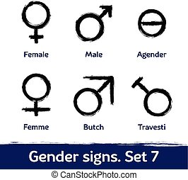 Gender signs drawn with brush. LGBT icons for diversity and...