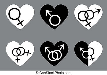 Gender signs in heart homosexual relationship - Symbolic...