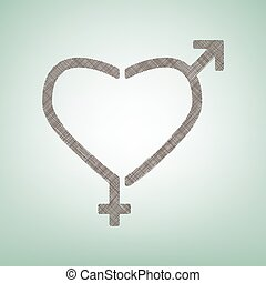 Gender signs in heart shape. Vector. Brown flax icon on green background with light spot at the center.