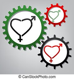 Gender signs in heart shape. Vector. Three connected gears with