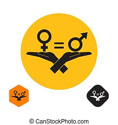 Gender signs on palms of hands