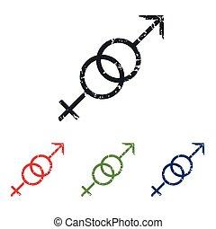 Gender symbols grunge icon set - Colored grunge icon set...