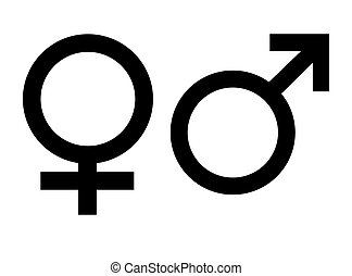 Male and female gender symbols, isolated on white background.