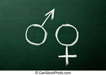 Gender symbols on green blackboard