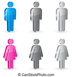 Three-dimensional shapes of male and female figures.