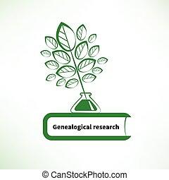 genealogical, investigación, logotipo