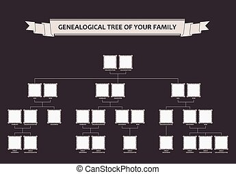genealogical, träd, av, din, family., calligraphic, inramar,...
