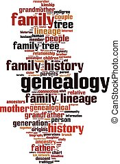 Genealogy word cloud concept. Vector illustration