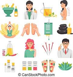 geneeskunde, alternatief, set, iconen