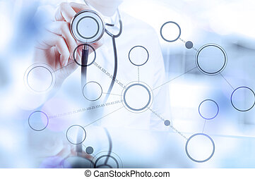 geneeskunde, arts, hand, werkende , met, moderne, computer, interface, als, medisch concept