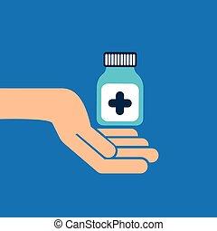 geneeskunde, capsule, handen, fles, pictogram