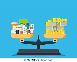 geneeskunde, geld, fles, pillen, schalen