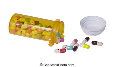 geneeskunde, gieten, pillen, fles, vrolijke