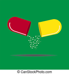 geneeskunde, halves, capsule, open, twee