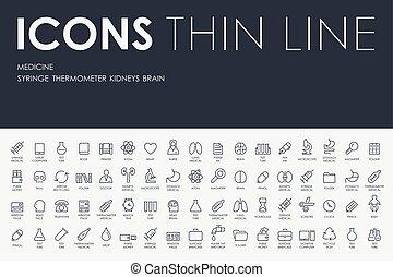 geneeskunde, lijn, mager, iconen