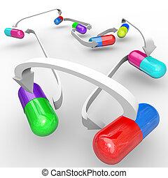 geneeskunde, medicijn, interactie, capsules, en, pillen,...