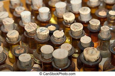 geneeskunde, oud, flessen