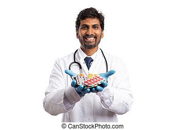 geneeskunde, palm, vasthouden, blaren, arts