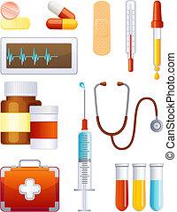 geneeskunde, pictogram, set