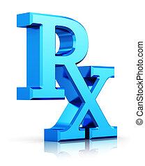 geneeskunde, rx, symbool, recept