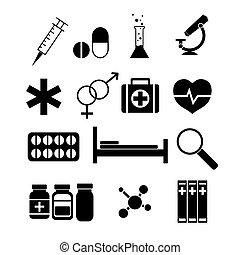 geneeskunde, set., vector, iconen
