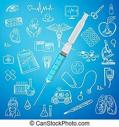 geneeskunde, spuit, trekken, pictogram, hand