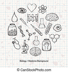 geneeskunde, wetenschap, biologie, of, achtergrond