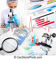 geneeskunde, wetenschap, en, zakelijk, collage
