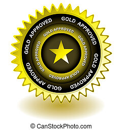 genehmigt, gold, ikone