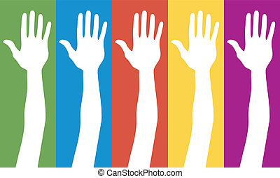 generál, volba, hlasování, hands.